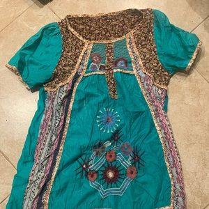 VINTAGE Mexican flower dress